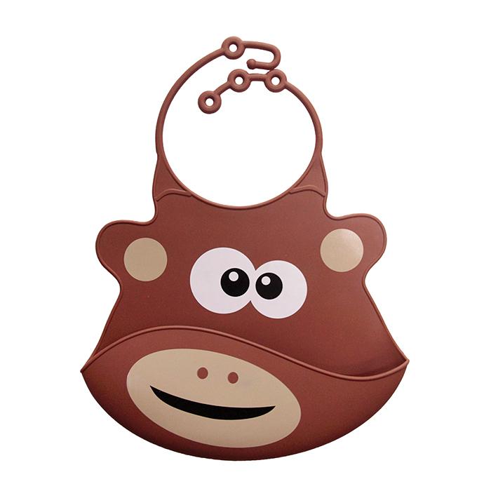 【babyeo】立體動物造型矽膠圍兜(咖啡猴)