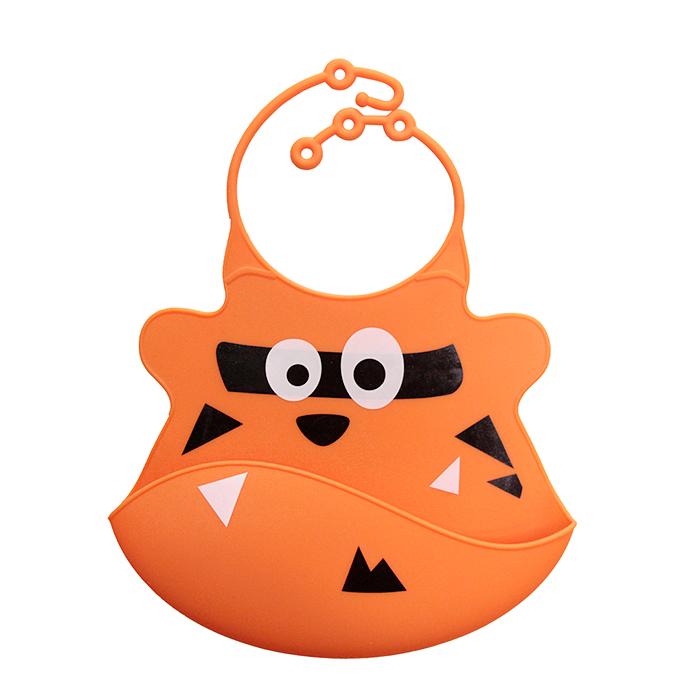 【babyeo】立體動物造型矽膠圍兜(橘老虎)