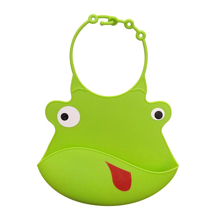 【babyeo】立體動物造型矽膠圍兜(綠青蛙)
