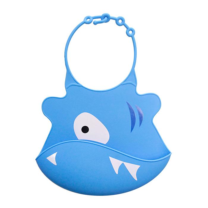 【babyeo】立體動物造型矽膠圍兜(藍鯊魚)