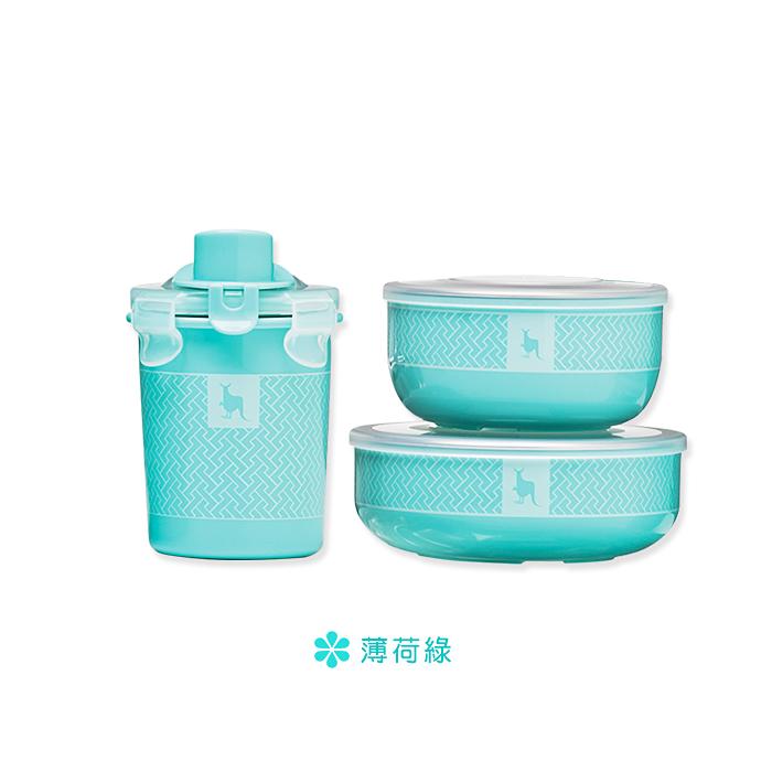 美國 Kangovou 小袋鼠100分簡配餐具組(薄荷綠)