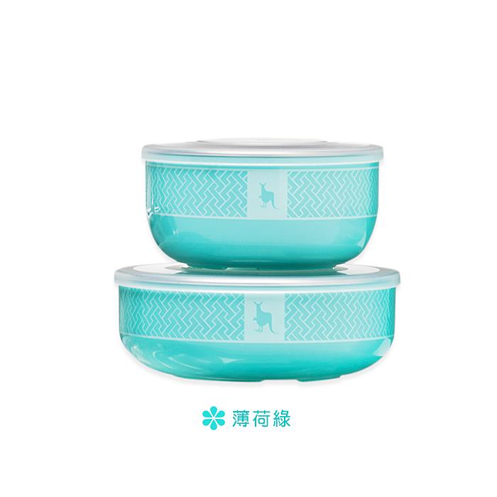 美國 Kangovou 小袋鼠不鏽鋼安全餐具小粥碗+點心碗(薄荷綠)