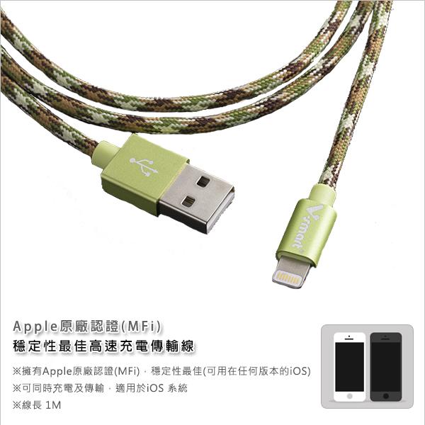V-smart LM01 小蘋果編織線傳輸線  Lightning to USB  (1M-綠)