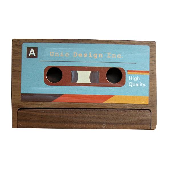 Unic原木錄音帶造型彩繪名片盒-深(胡桃木)